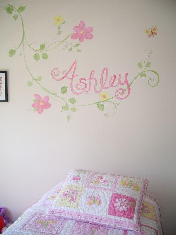 Marvelous Custom Wall Murals, Girls Room Art, Painted Name Good Ideas