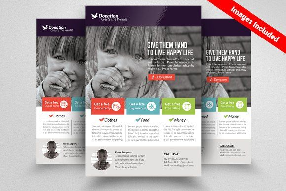charity donation flyer templates by design up on creativemarket