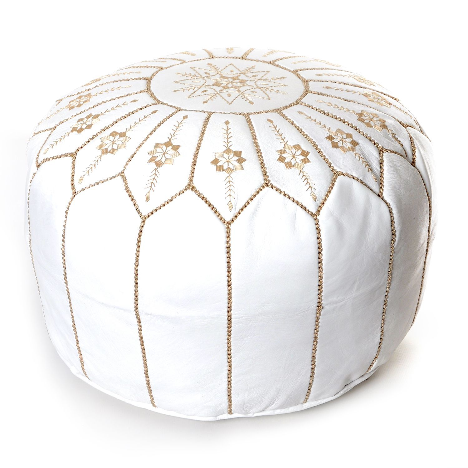 Surprising The Curated Nomad Aptos Moroccan Flower Leather Pouf Round Lamtechconsult Wood Chair Design Ideas Lamtechconsultcom
