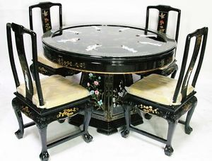 Black Lacquer Oriental Design Round Oriental Table And Chairs Dinette Furniture Round Dining Room Sets Dinette