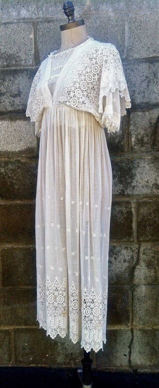 Gunne sax wedding dress  Vintages Turn of The Century Embroidered Cotton Batiste Summer