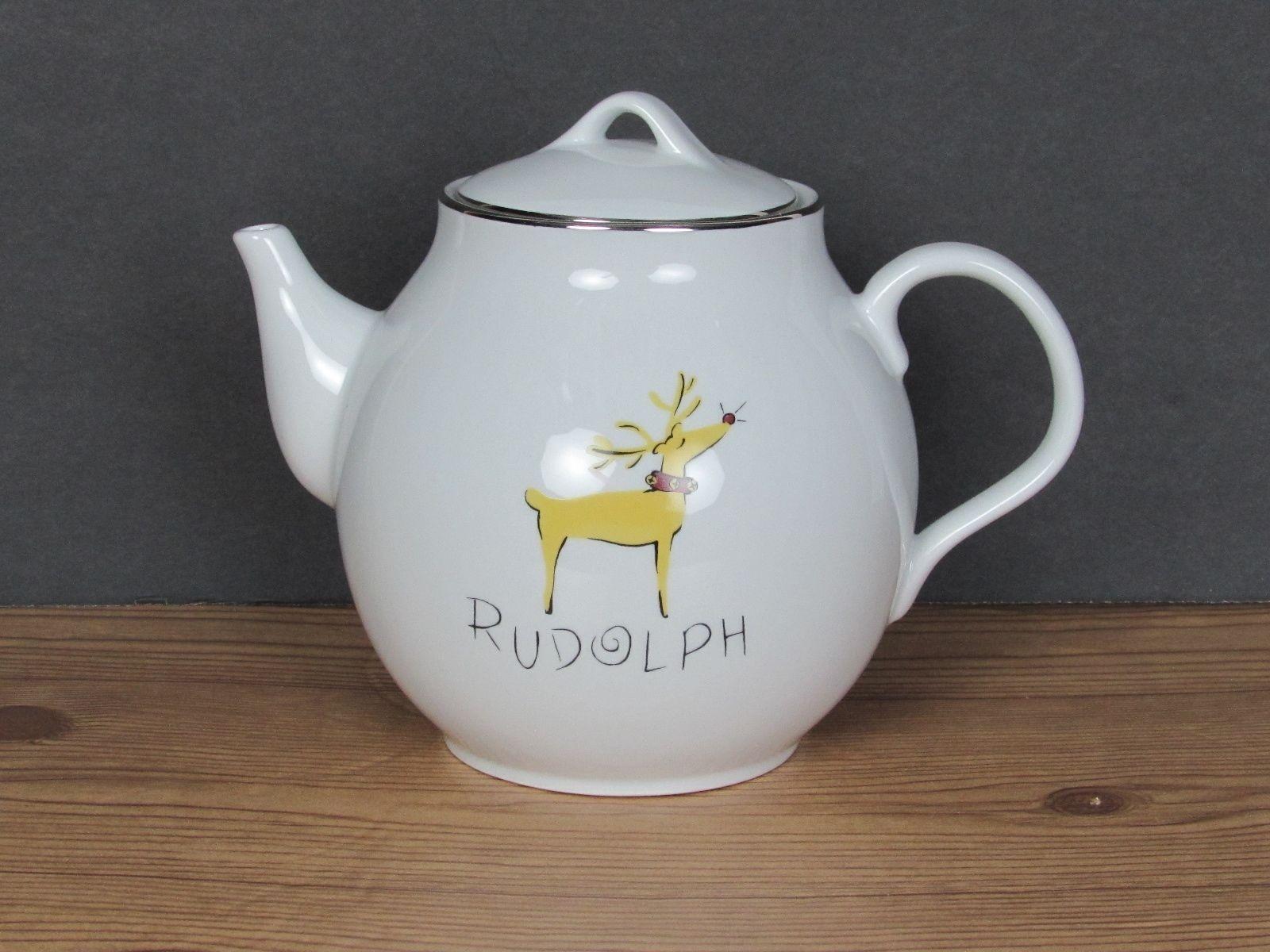 Pottery Barn Reindeer Rudolph Teapot Christmas Coffee