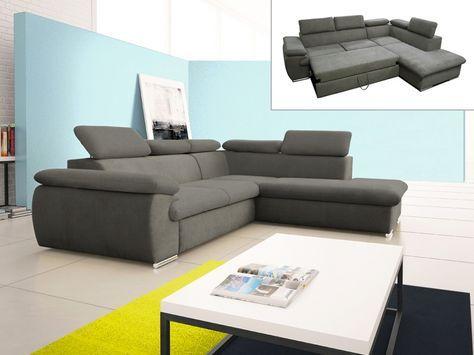 Canapé d angle convertible en tissu avec coffre de rangement FABIEN