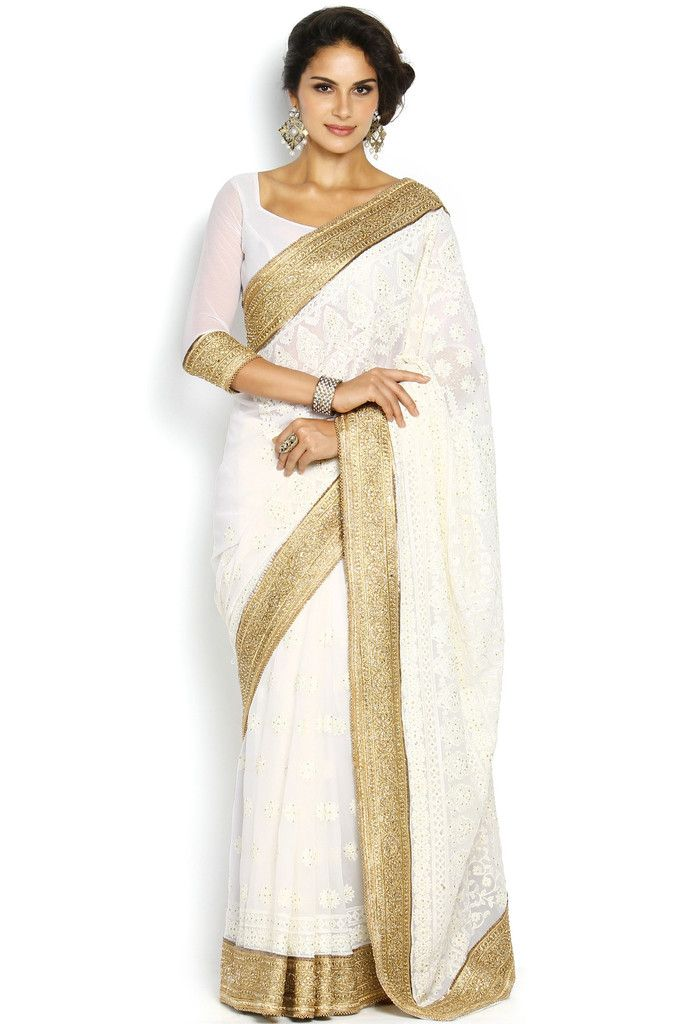 4ad277d6e Soch White   Gold-Toned Embroidered Georgette Saree - SEVA SR 11005 ...