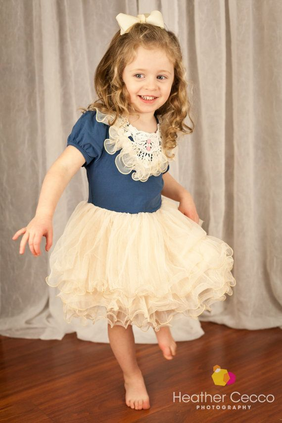 Navy Ivory Toddler Girls Tutu Dress, Vintage Toddler Girls Dress, Flower Girl Dress, Holiday Easter, Birthday Dress,Rustic Beach Wedding