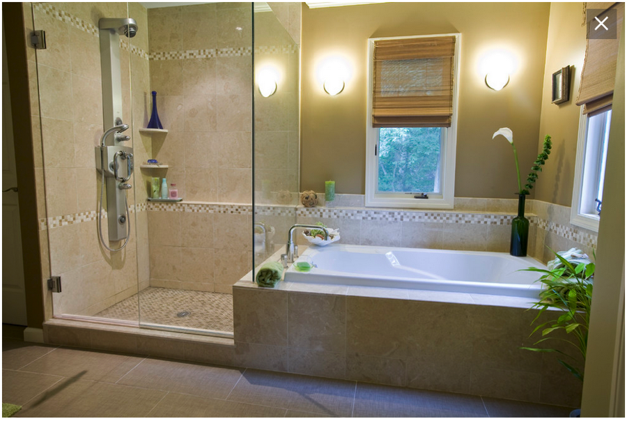 Drop In Tub With Tile Surround And Neighboring Shower Shower Bath Combo Tub Shower Combo Bathroom Shower Stalls