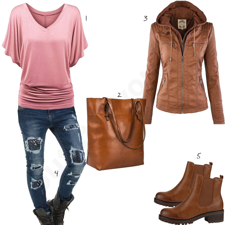 Damenoutfit mit hellbrauner Tasche, Lederjacke und Boots