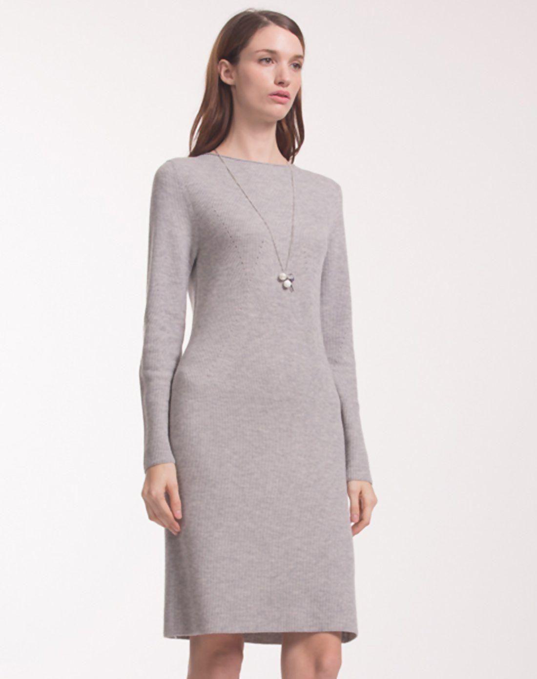 #mothersday #AdoreWe #VIPshop Womens - naivee Gray Round Neck Long Sleeve  Basic 3/4 Length Women's Shift Dress - AdoreWe.com