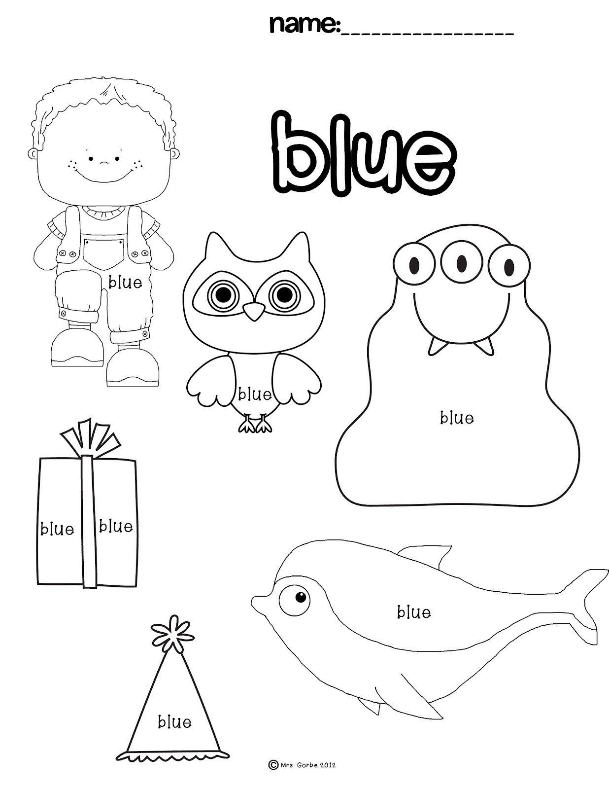 Color Blue Worksheets For Preschool A Purple Color