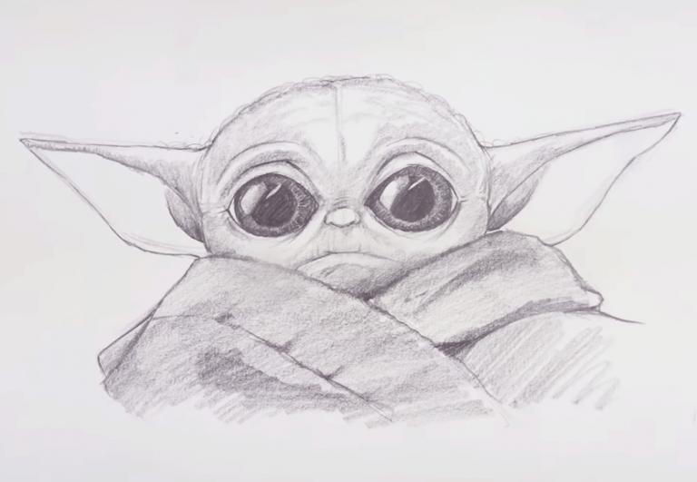 Baby Yoda Drawing Easy Using One Pencil Yoda Drawing Star Wars Drawings Drawing Stars