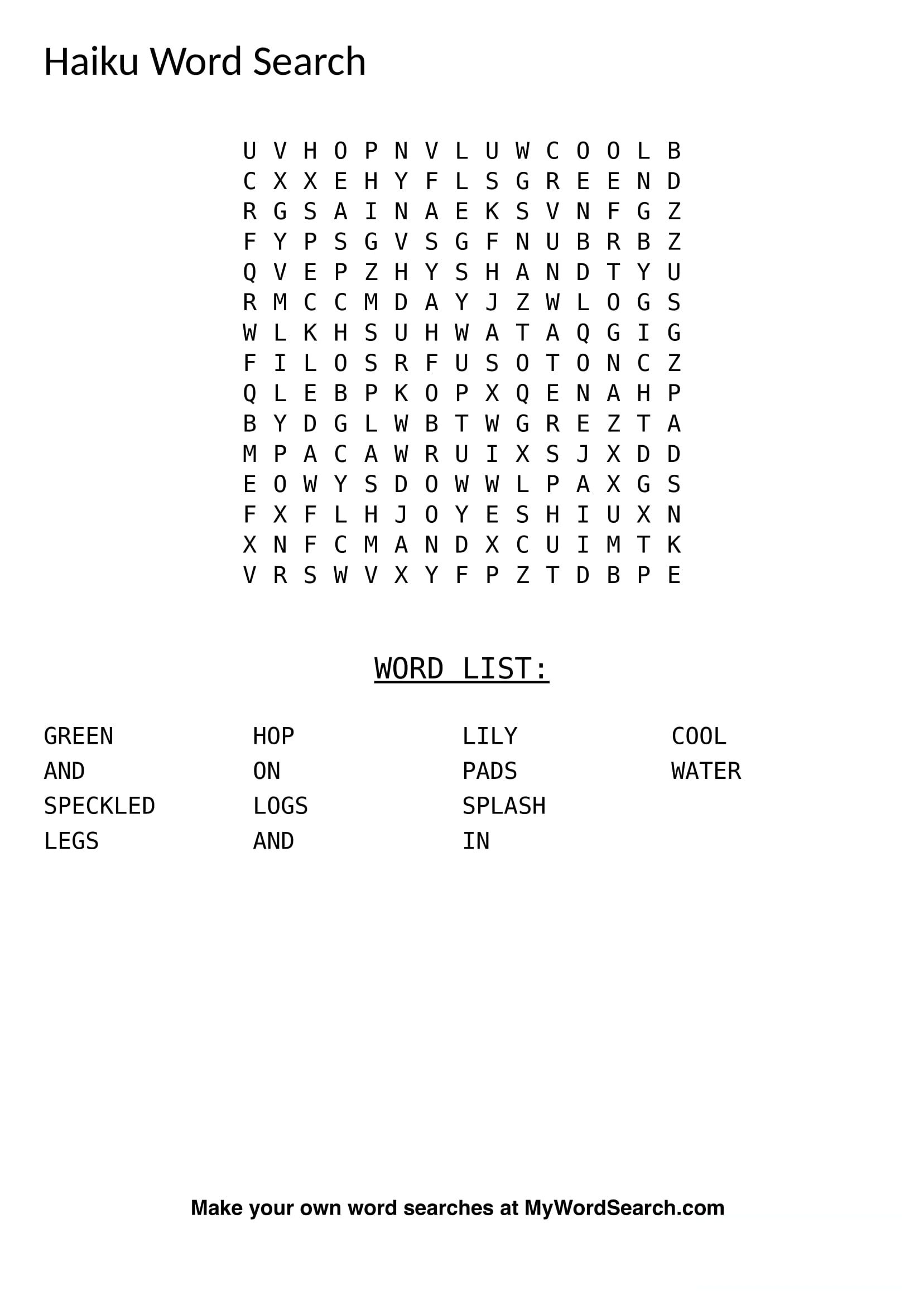 Make Your Own Haiku Word Searches Or Poetry Word Searches