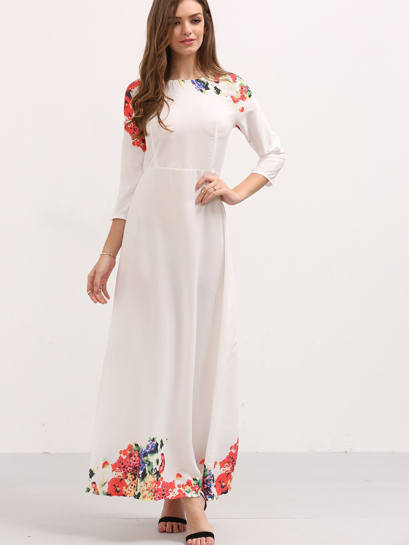 d4c7819e54 Shop 3/4 Sleeve Flower Print Long Dress - White online. SheIn offers 3/4  Sleeve Flower Print Long Dress - White & more to fit your fashionable needs.