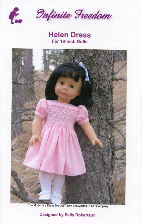 Downloadable Helen Smocked Doll Dress Pattern for 18 Inch American Girl Dolls - IF-Helen-D #dolldresspatterns