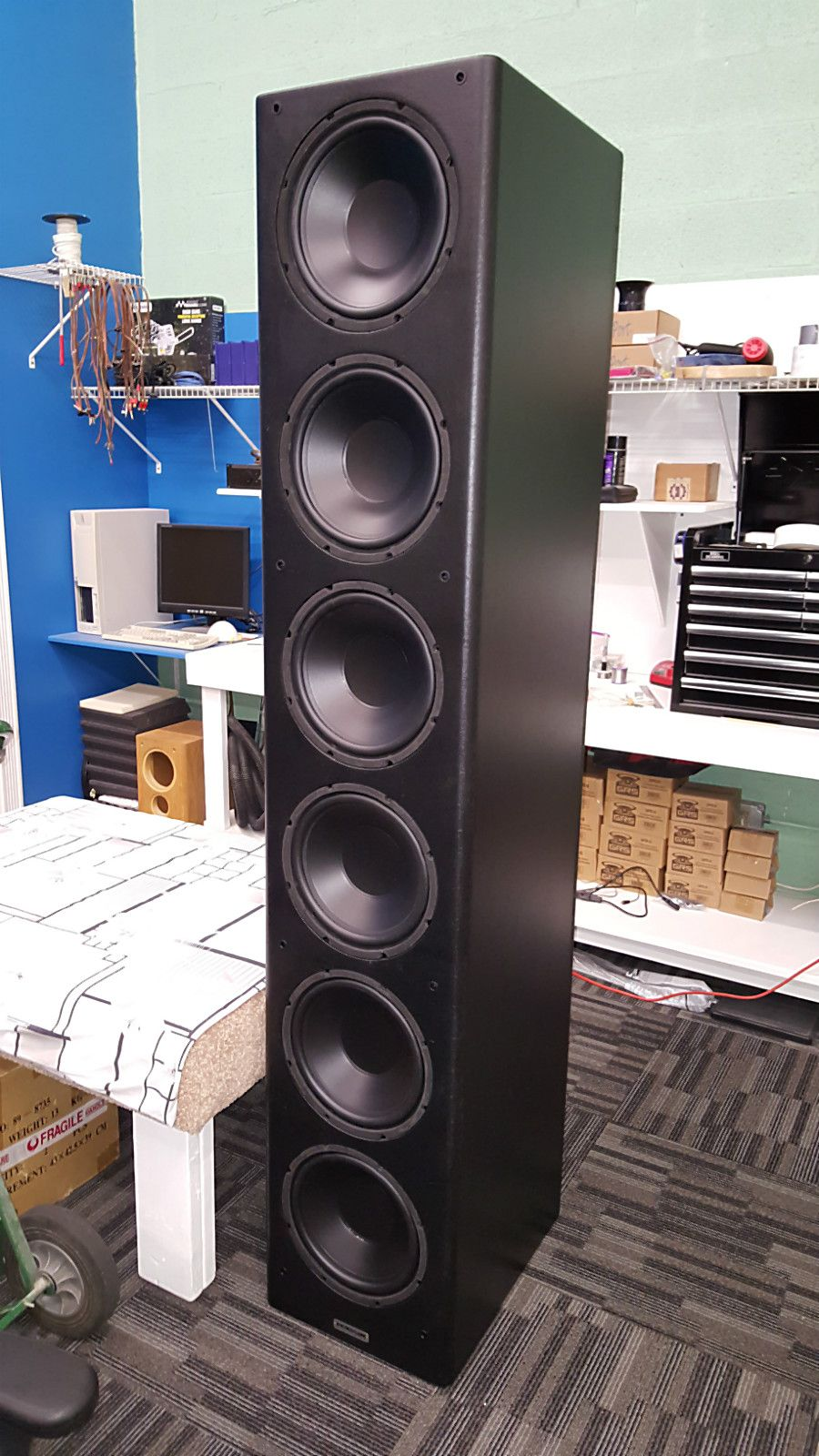 A Power Tower Subwoofer Six 12 Woofers Powered By A 1 000 Watt Class D Amplifier Small Footprint Bi Subwoofer Box Design Speaker Design Speaker Box Design