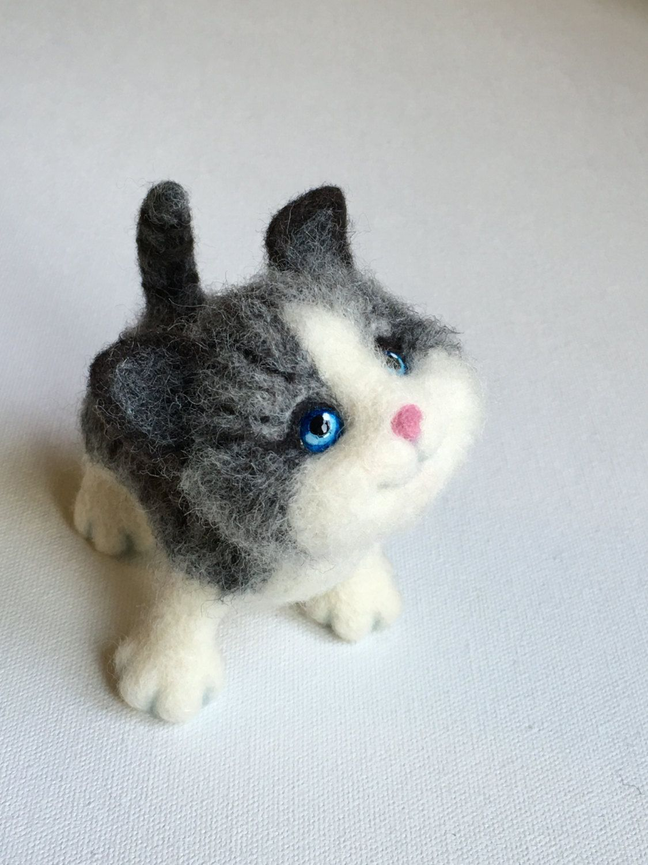Needle Felted Silver Kitten, Cat Portrait, Toy Kitten