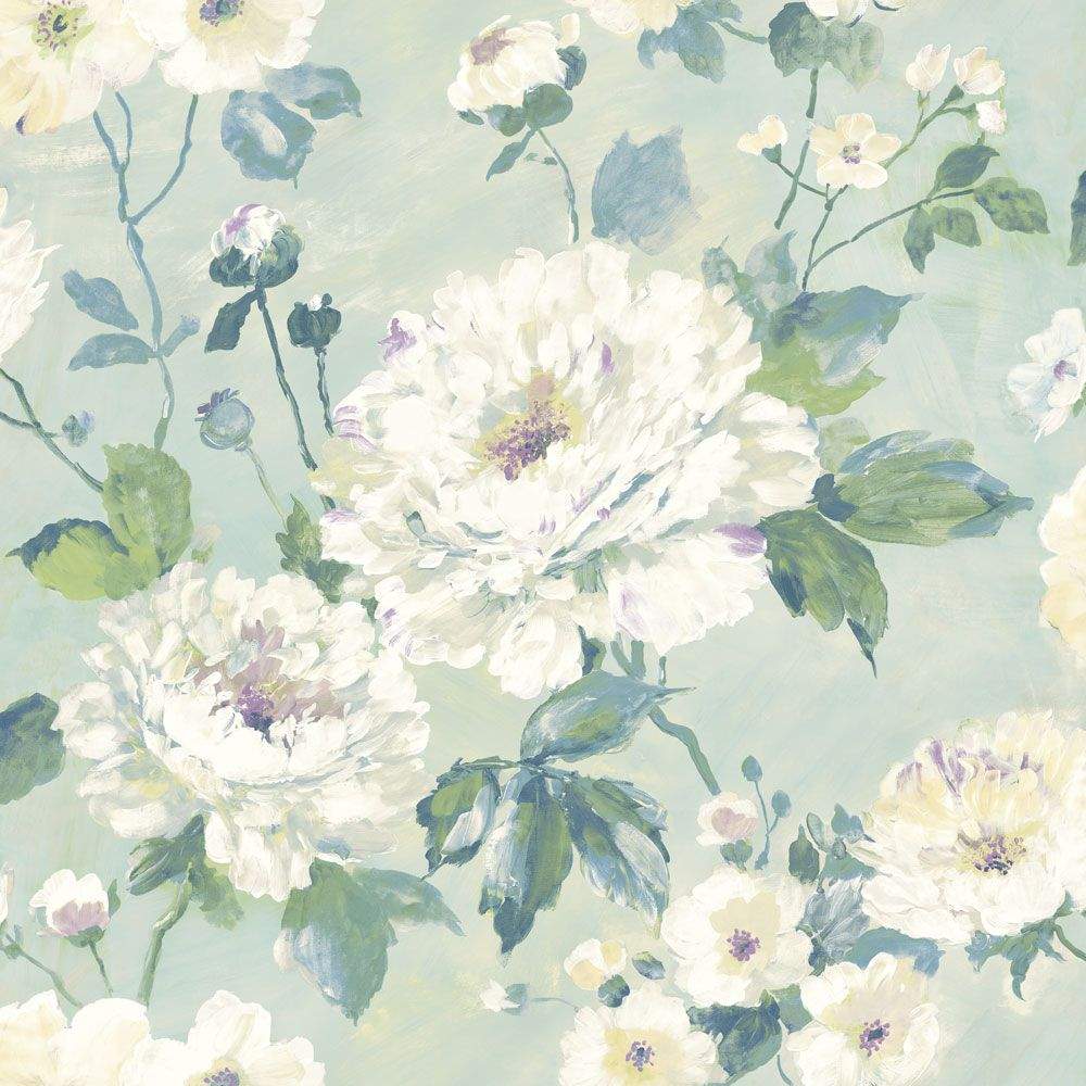Fiore Bloom by Albany Duck Egg Wallpaper FO3103
