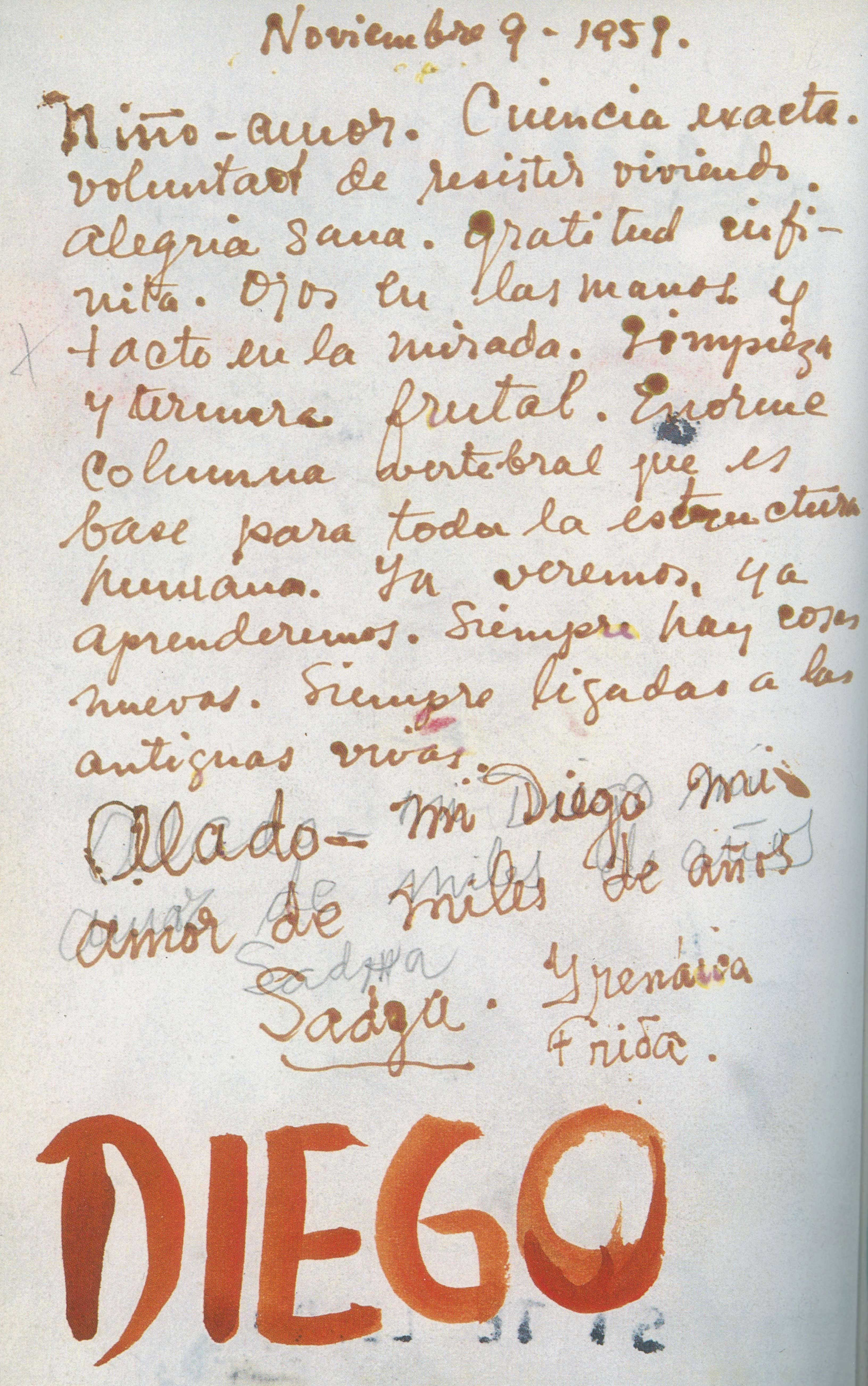 ésta Carta No Es Auténtica De Frida La Fecha Es De Noviembre De 1959 Y Ella Murió En El Año 1954 Frida Kahlo Frazes Inspiradoras Casa Azul
