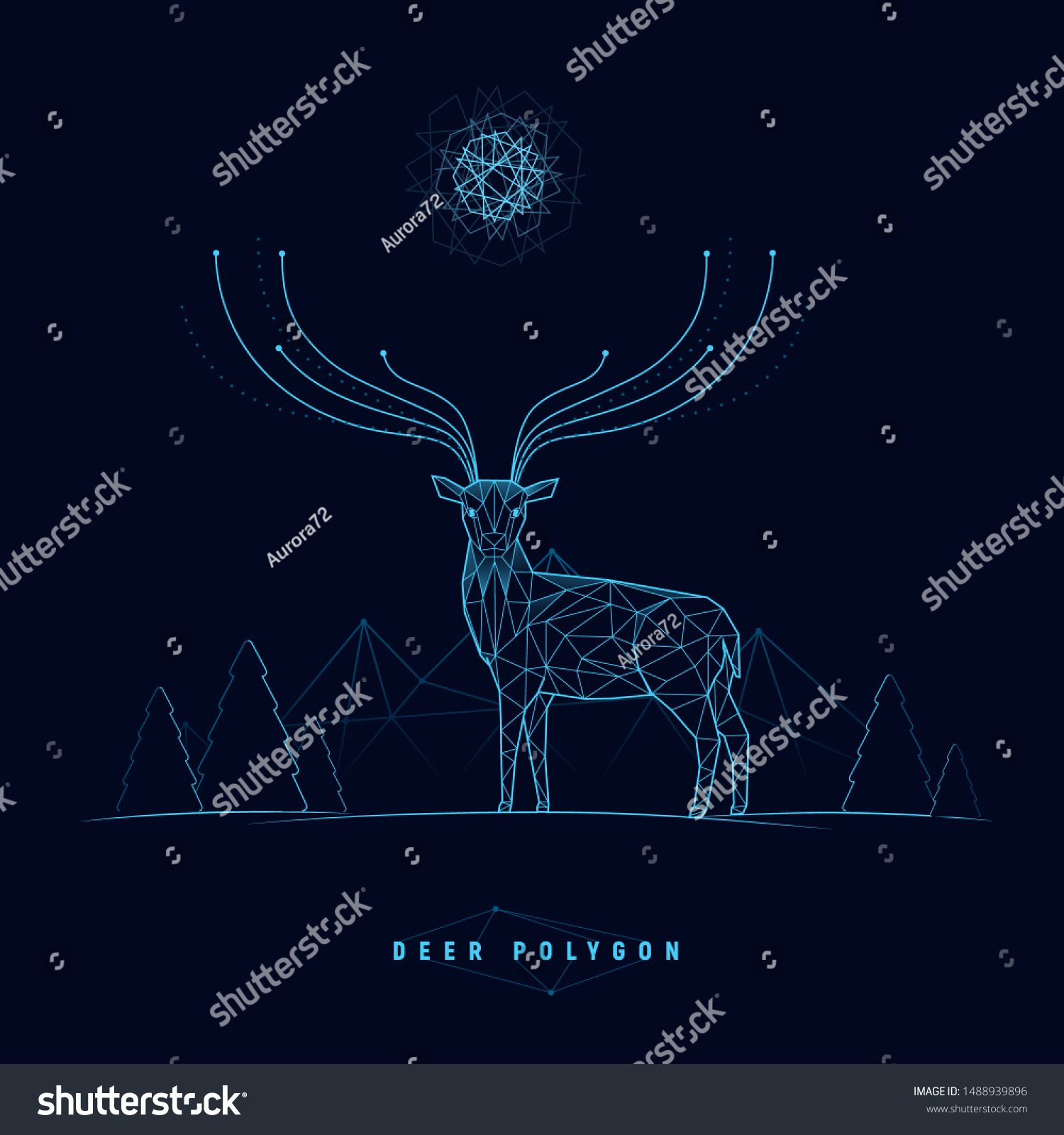 Futuristic deer and landscape with polygonal connection structure Deer with energy horns Magic symbol Christmas tech banner Concept for business science technology Vector...