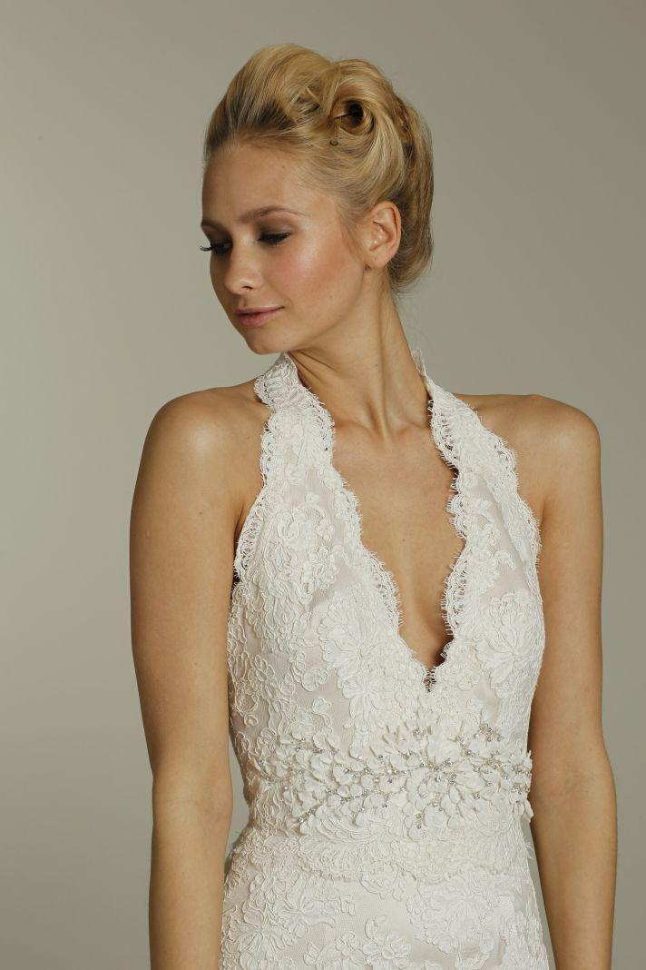 Halter Wedding Dress with Sash