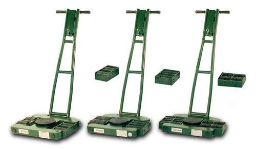 These low profile, 3-Point Load Moving Systems are perfect for moving over finished floors.  They are currently available in load moving capacities of  6, 12, and 18 tons.  Choose from Nylon, Polyurethane, or Steel rolls to suit your moving requirements.