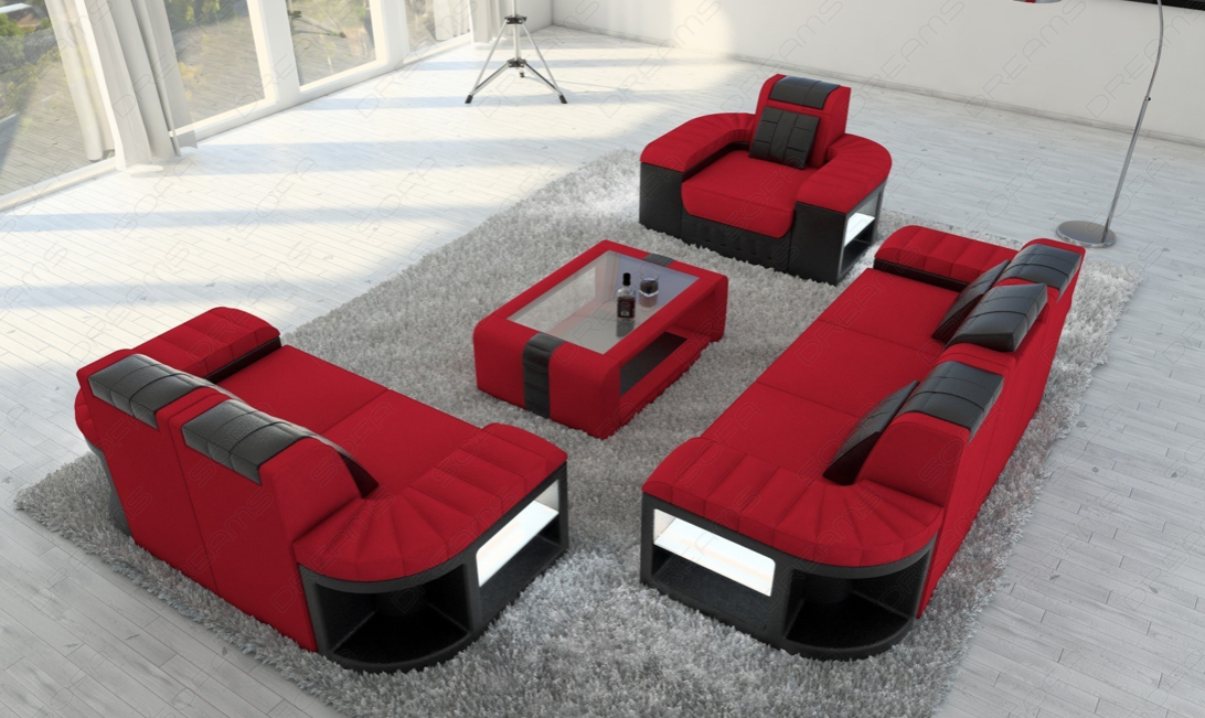 Fabric Sofa 3 2 1 Boston Led Fabric Sofa Red Sofa Sofa Set