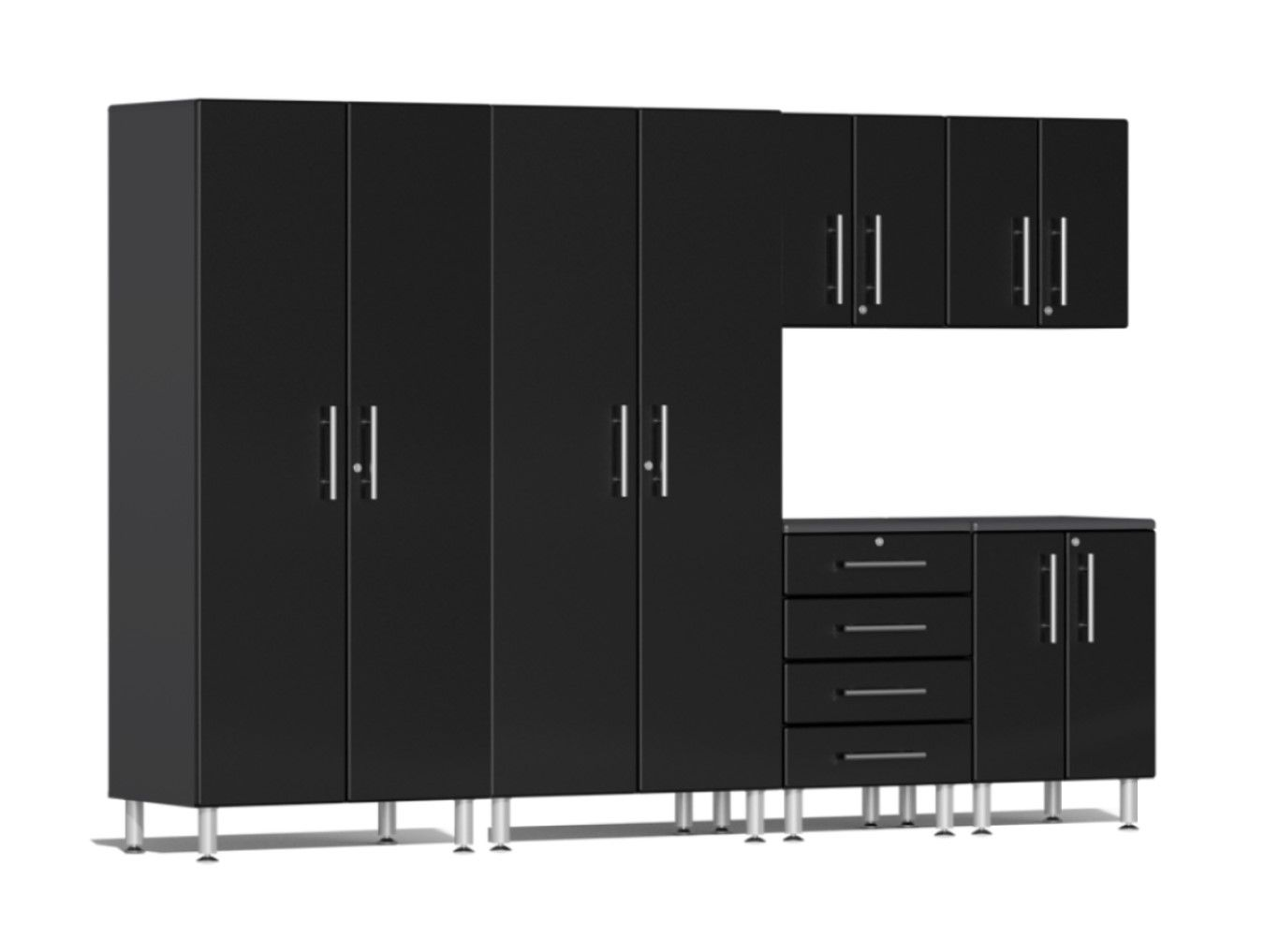 """Ulti-MATE Garage 2.0 Series 6-Piece Kit in Black Metallic UG23060B Ulti-MATE Garage 2.0 Series takes the back-to-back Consumers Digest awarded """"Best Buy"""" cabinet line features to the next level. Six (6) piece kit offers a popular mix of oversized cabinets provides industrial strength 1-inch thick shelves, contemporary style that will have you stand out from crowd and more.  UG23060B Features: Strong 3/4"""