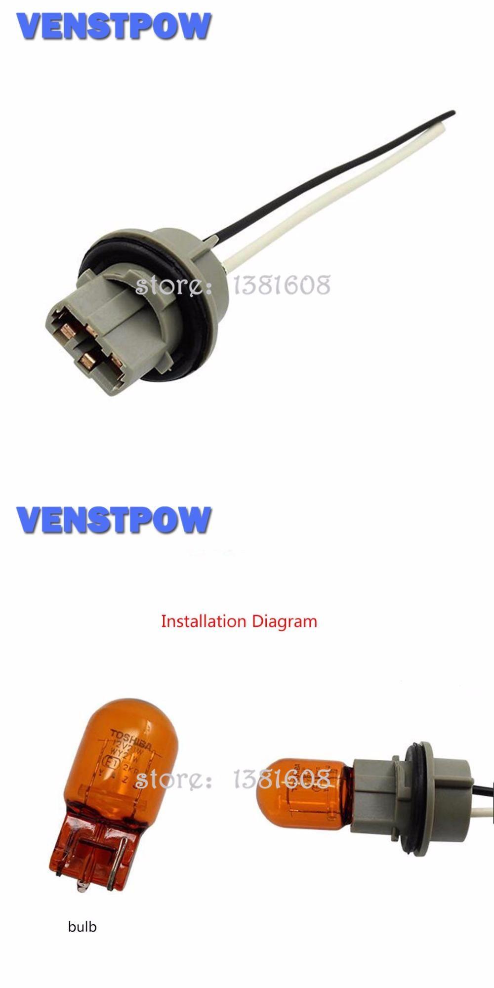1pc T20 Car Bulb Socket Brake Turn Signal Light Harness Wire Led Pig Tail Plug T20 Lamp Holder Connector Plug Car Bulbs Lamp Holder Bulb