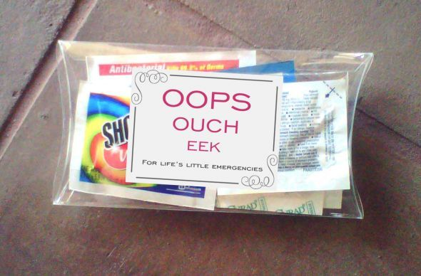 "25 Out Of The Box Ideas For Your Destination Wedding: ""Oops, Ouch, EEK"" Kit For Out Of Town Boxes : Shout Wipes"