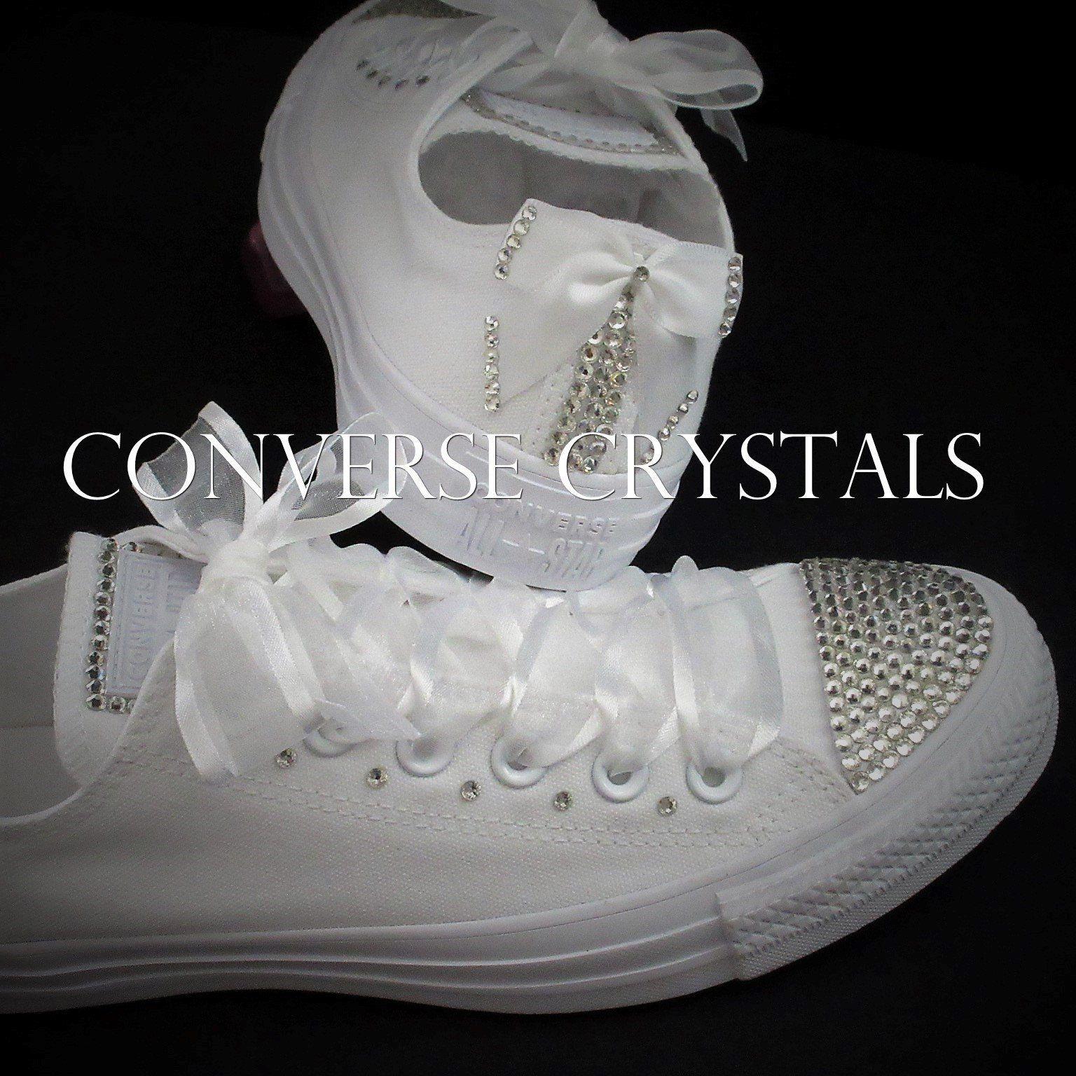 b6da07707c60 Bridal   Wedding Mono White Custom Converse Sizes UK Sizes 3-8 US 5-10  EU  35- 41.5 Incl Half Sizes by ConverseCrystals on Etsy