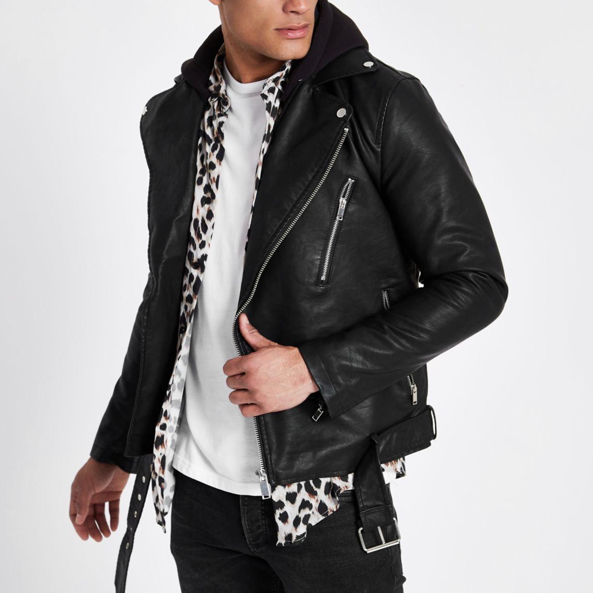 Black hooded faux leather biker jacket Clothes, Faux