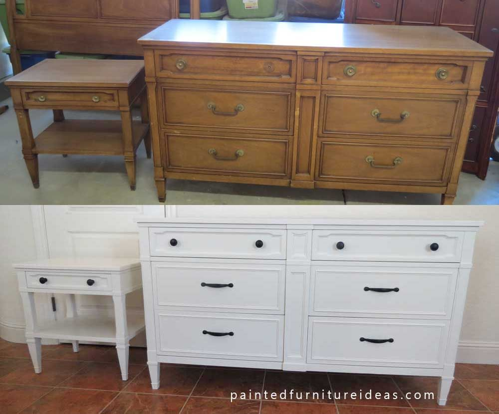 Drexel Dresser Set Refinished In White Painted Furniture Ideas Projects Redo Refinishing