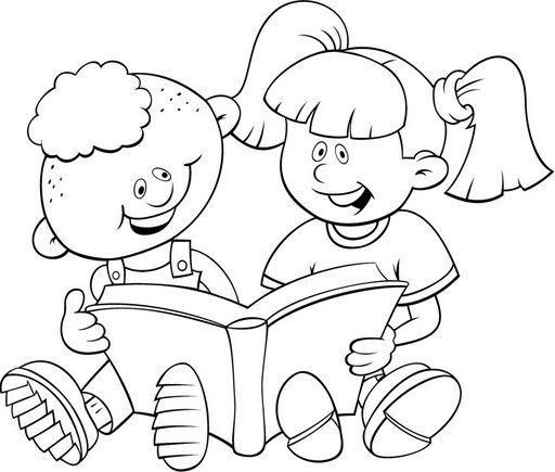 Desenho Colorir Alunos Estudando Pesquisa Google Dia Do Livro