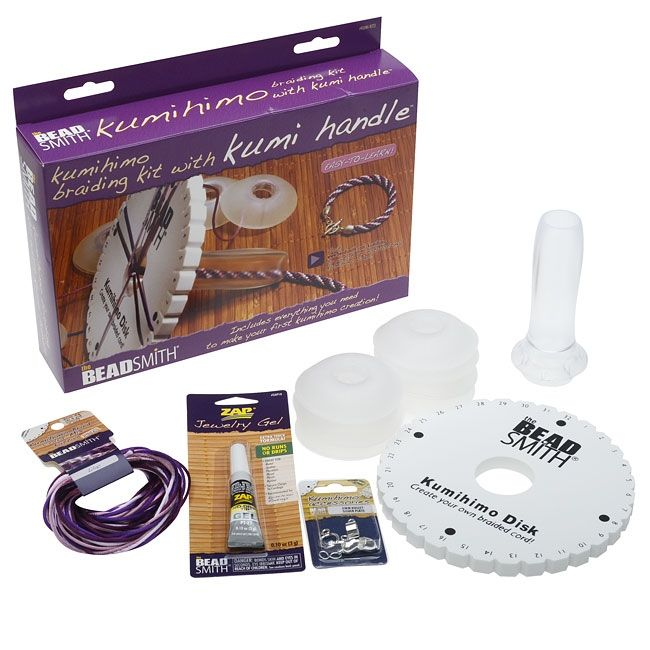 BeadSmith Kumihimo Starter Kit with Kumi Handle and Round Disk