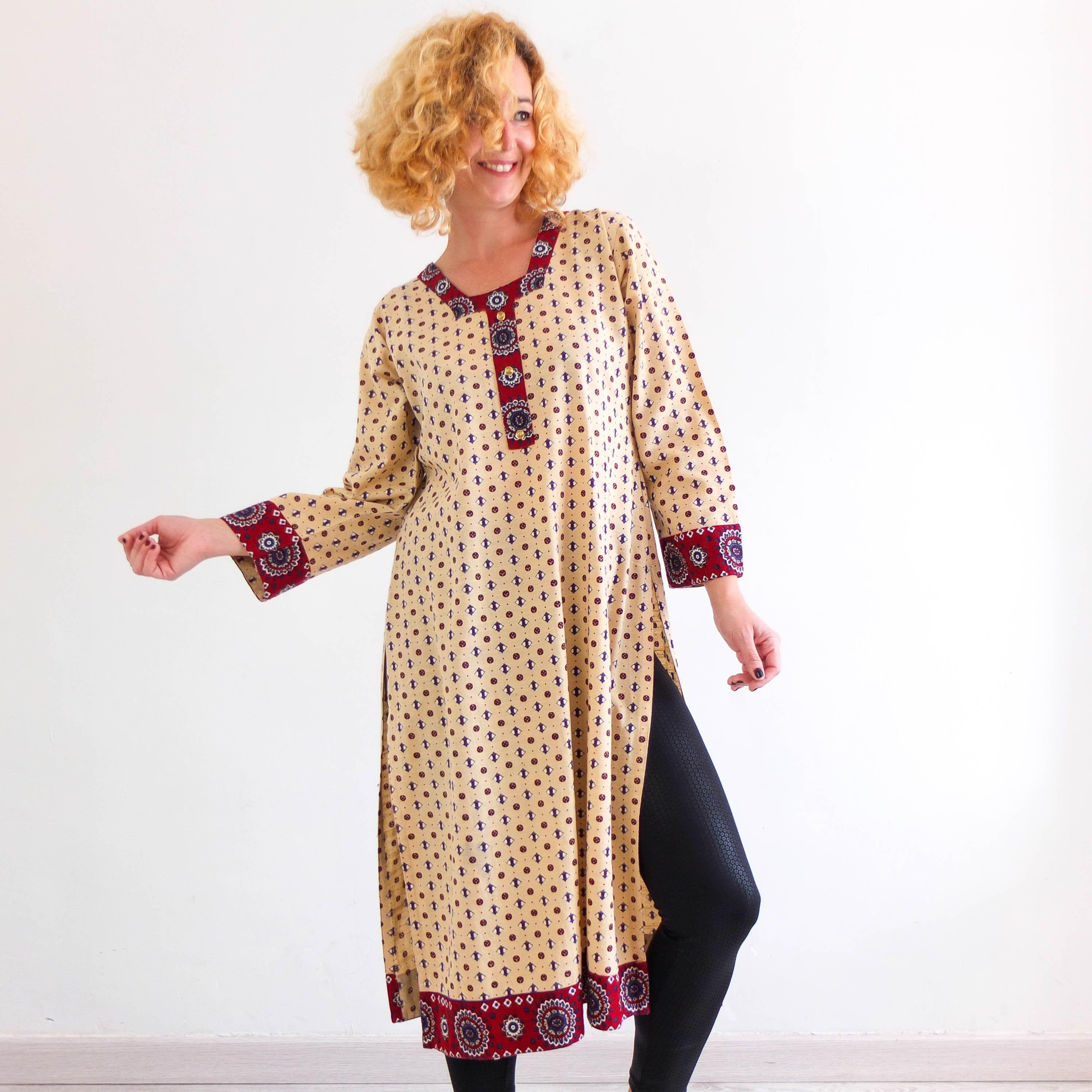 Vintage 70s Ethnic Boho Poly Cotton Maxi Dress Small Medium