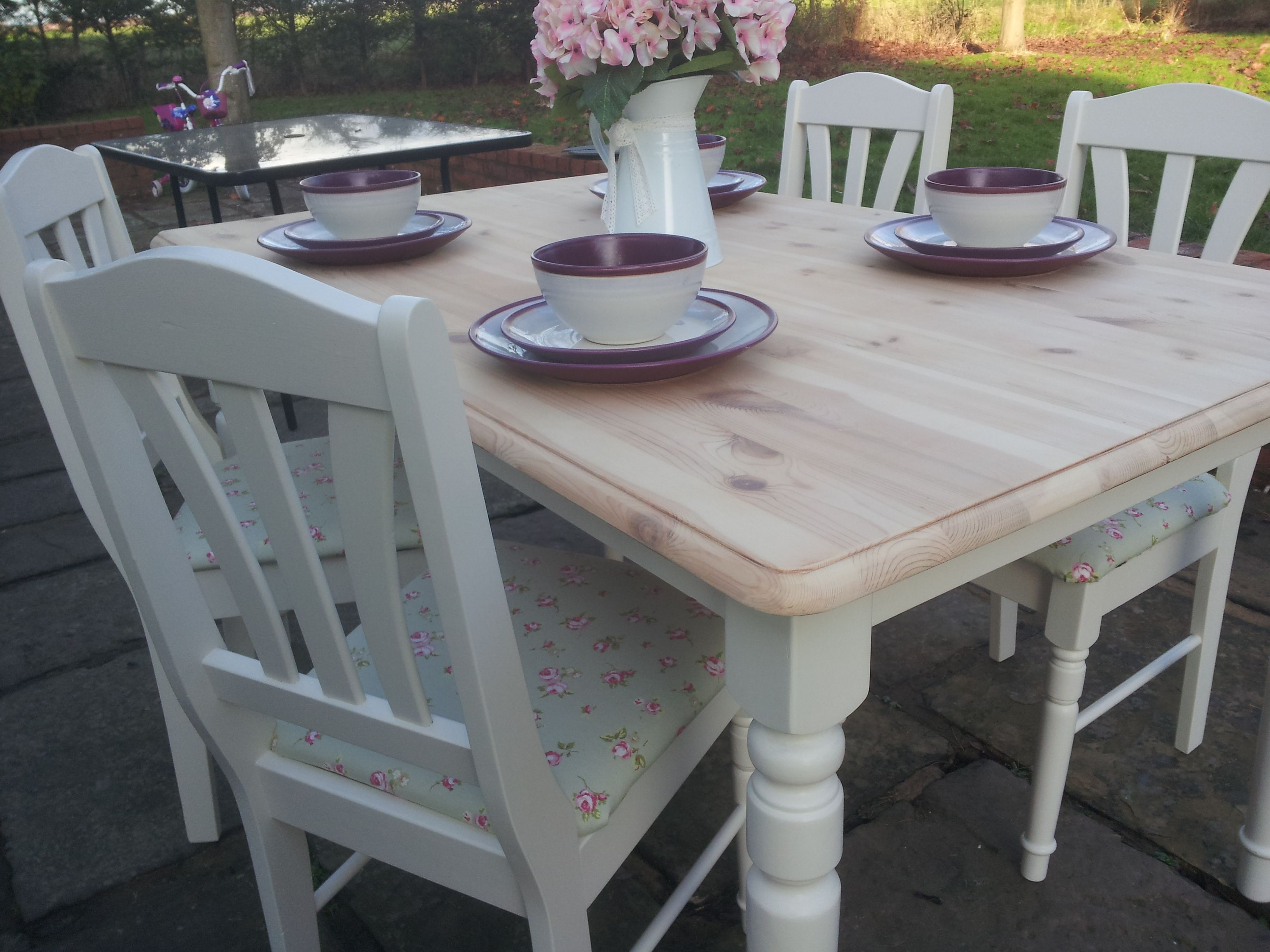 Re Loved Pine Table And Chairs. Painted With Eggshell And Seat Pads Re