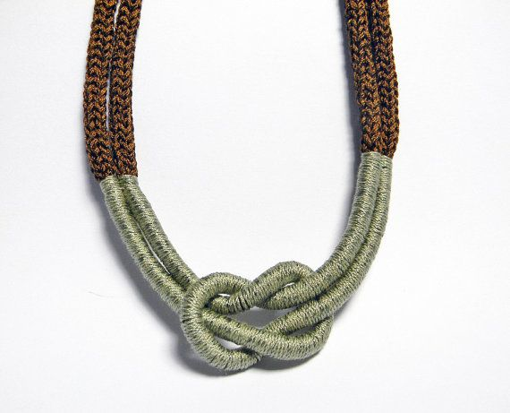 Statement necklace. Nautical knot, thread necklace. Brown and sage green.