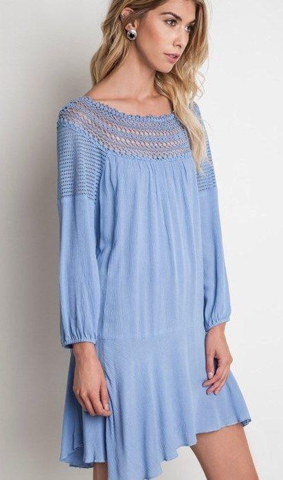 Dusty blue swing dress Www.shoplavidaloca.com