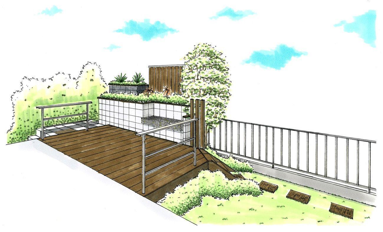 南側のお庭にウッドデッキや家庭菜園スペースを作ったガーデンデザイン
