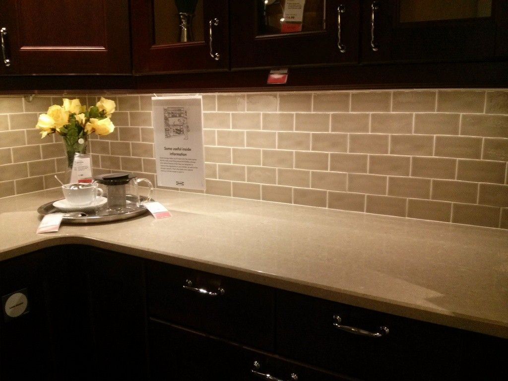 White marble subway backsplash tile countertop espresso cabinet from - Top 18 Subway Tile Backsplash Ideas With Pictures