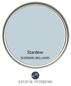 Best gray blue paint colour, Sherwin Williams Stardew. Paint review. Kylie M Interiors Edesign, online paint color advice blogger