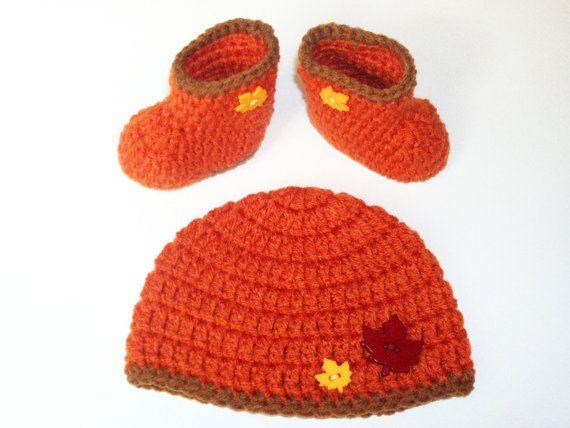 Unisex Newborn Hat and Booties Set  Autumn by BeyondCrochetToo, $15.00