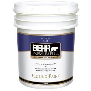 Behr premium plus 5 gal white flat ceiling interior paint condo pinterest ceilings paint for Behr premium plus interior flat