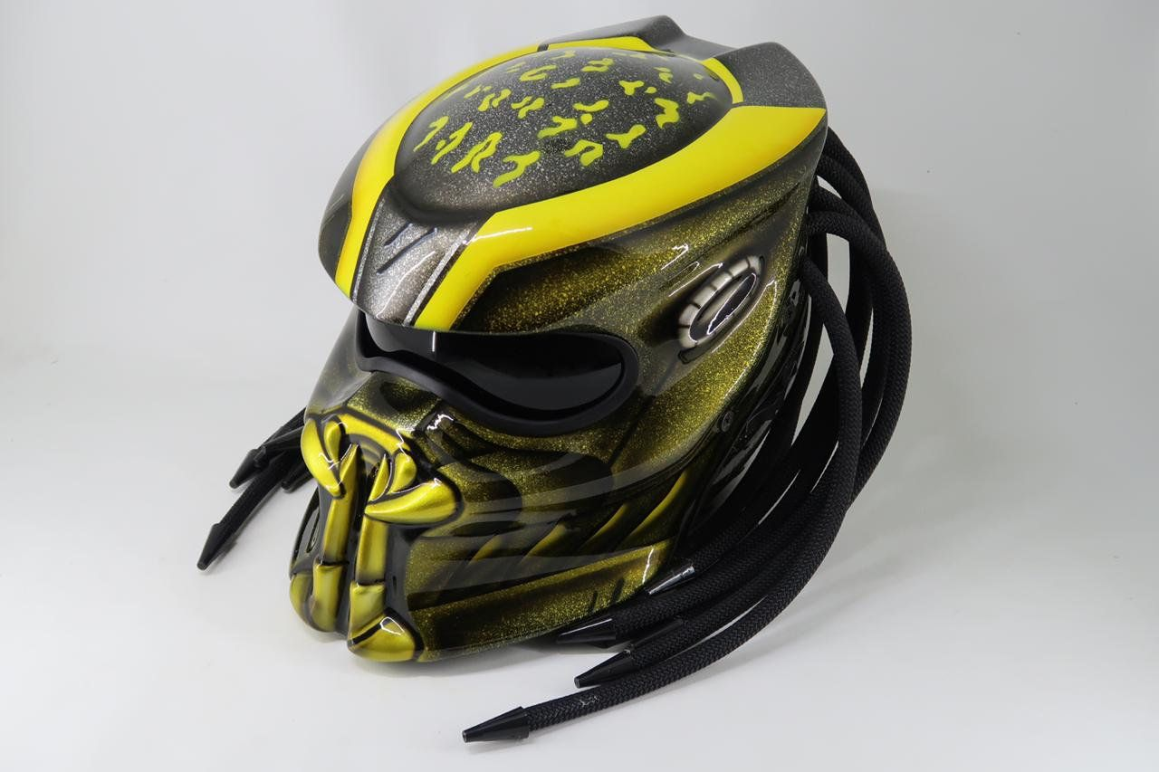 Good Quality Predator Helmet Street Fighter For Bikers Yellow Color Glossy Helmet Dot Ece Certified Predator Helmet Helmet Custom Helmets