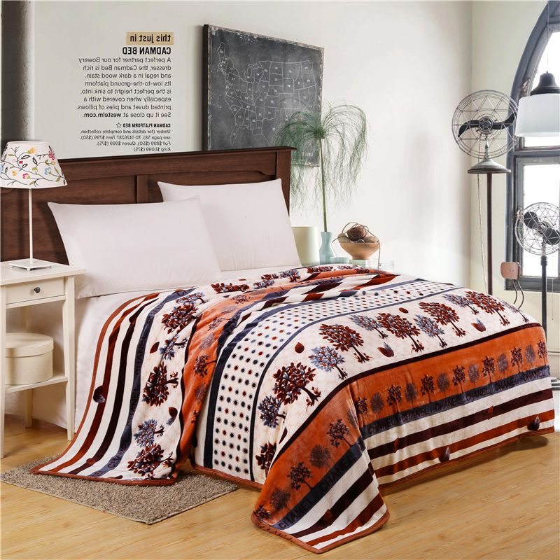 Home Textiles,happy Coffee Tree Best Fabric Coral Fleece Blankets For Bed  Bedclothes Can Be
