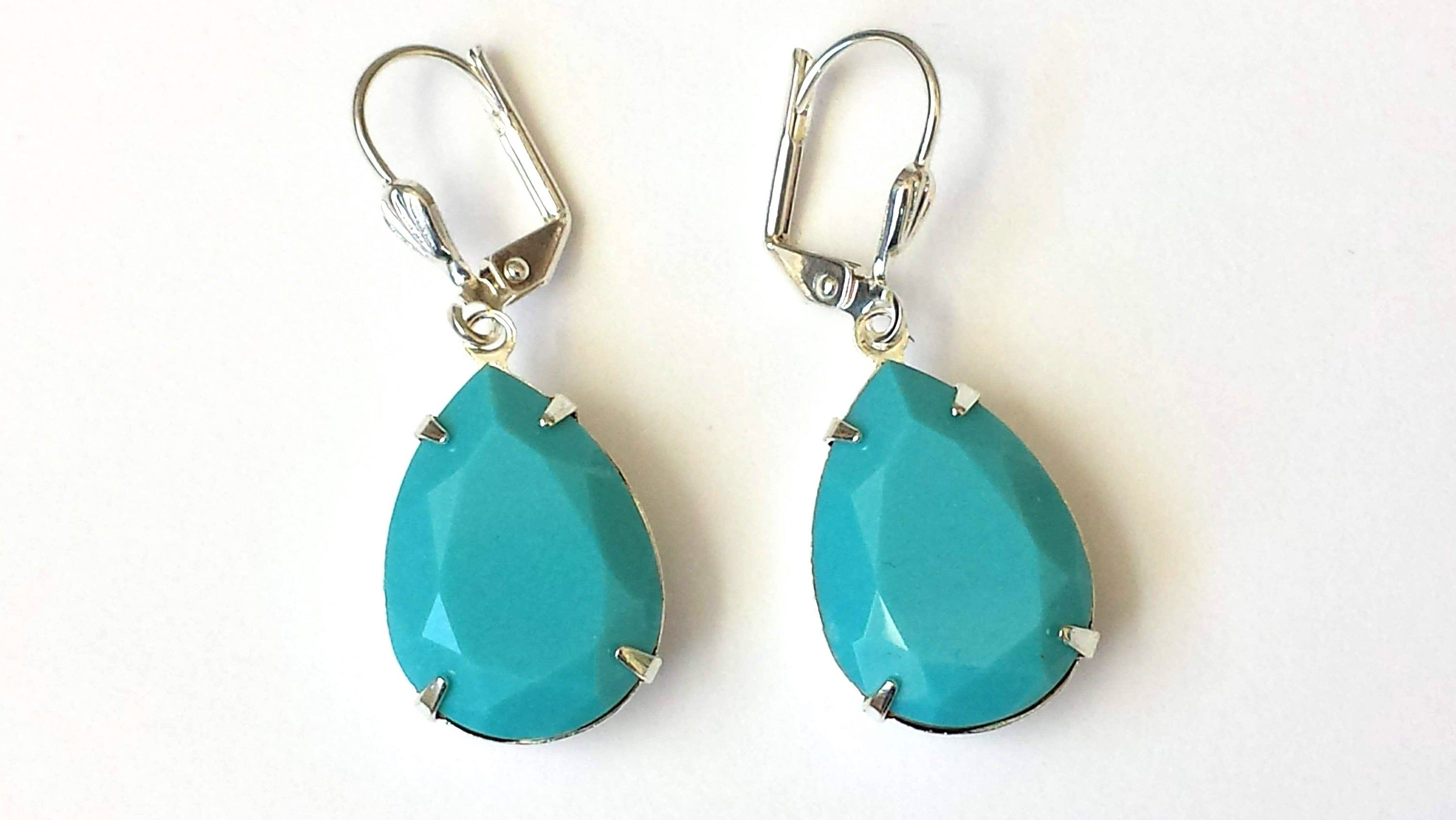 gifts for her boho ceramic drops turquoise petal earrings Ceramic petal earrings