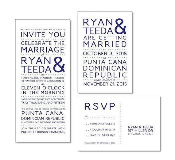 Reception After Destination Wedding Invitation: Elopement Announcement And Reception Invitation For