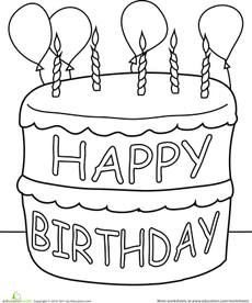 Birthday Cake Coloring Page Happy Birthday Coloring
