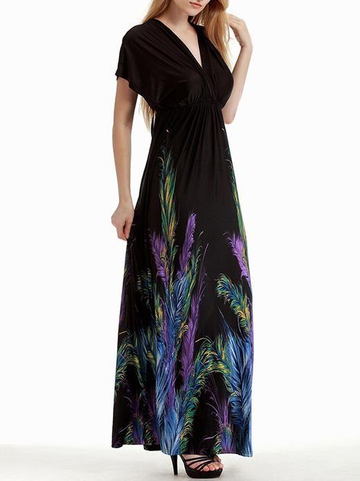 d960d363a60 Plus Bohemia Printed V-neck V-back Maxi Dress – oshoplive