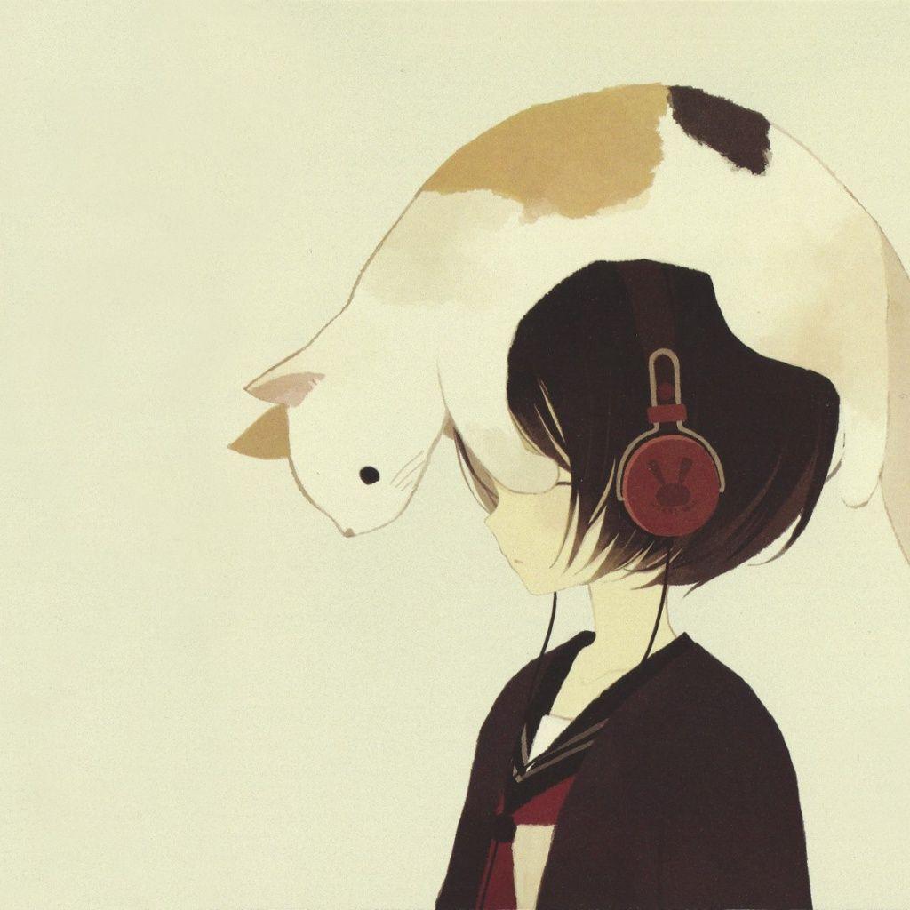 Anime Girls With Headphones Ipad 1 2 Wallpaper Anime Anime Cat Art
