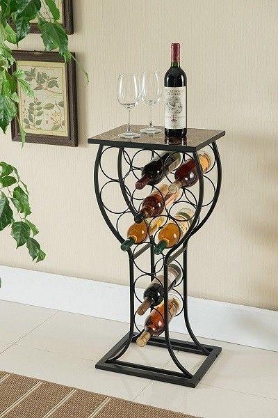 Unique Wine Rack Bottle Holder Metal Stand Display Storage Table
